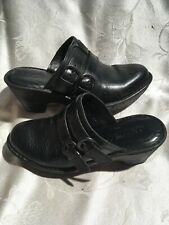Born Women's Black Leather Double Buckle Clogs Size 7