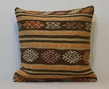 18 x 18 Cushion Cover Decorative Pillow Cover Brown Natural Pillow Case Kilim