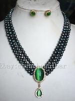 3 reihige 6-7mm schwarze Süßwasserperlen Halskette grüner Opal Anhänger Ohrringe