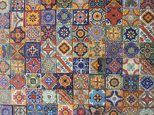 "100 MIXED DESIGNS Mexican tile handmade talavera backsplash mosaic 2 X 2"""