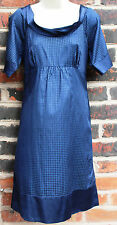 Monsoon Navy Blue Silk/cotton 'brooklyn' Dress UK 10 Short Sleeves