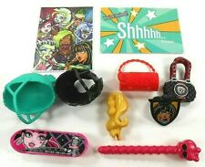Monster High Accessories Mixed Lot 10 Helmets Purses Skateboard Ring Photo Etc
