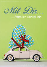 DIN A6 Postkarte Grußkarte Karte VW Käfer, Herz: Mit Dir fahre ich überall hin