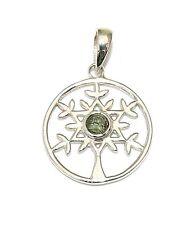 Moldavite Tree of Life Sterling Silver Pendant