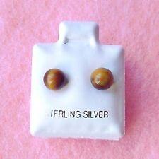 Sterling Silver - 6mm Tiger's Eye Ball Stud Earrings (SE041)