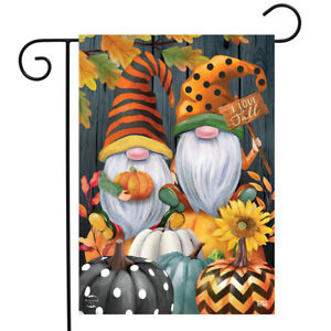 "Fall Gnomes Humor Garden Flag Autumn Patterned Pumpkins 12.5""x18"" Briarwood Lane"