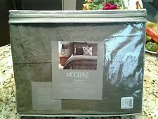 NEW Noble Excellence  Moderne Triumph Linen Full/Queen Duvet Cover Pewter Grey