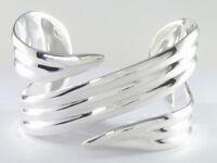 "925 sterling silver 1 1//4/"" wide crushed cuff bracelet 6 1//2-7 1//2/"" wrist"