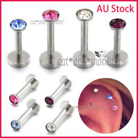 Gem Titanium Labret Monroe Lip Tragus Nose Ear Earrings Piercing Ring Bar Stud