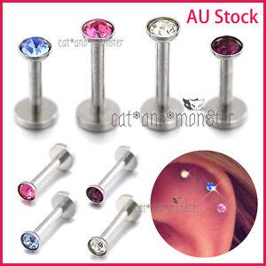 Gem Titanium Labret Monroe Lip Tragus Nose Ear Earrings Piercing Ring Bar Stud