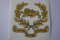 """THE KINGS OWN ROYAL BORDER REG STICKERS  X 2     4"""" x 4"""" approx  BRITISH ARMY"""