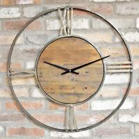 Large Round Vintage Wall Clock Gold Metal Frame Roman Numerals Analogue Quartz