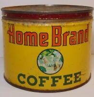Old Vintage 1940s HOME BRAND COFFEE KEYWIND COFFEE TIN 1 POUND AUSTIN MINNESOTA