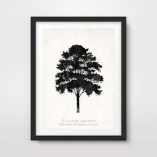 TREE BLACK SILHOUETTE SHAPE ART PRINT Decor Wall Picture 20x30 30x40 40x50 cm