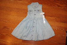 NWT Girls DKNY Bleach Wash Light Wash Denim Sleeveless Dress Sz 5