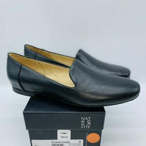 Naturalizer Women's Kit2 Slip On Loafer Flat- Black Leather
