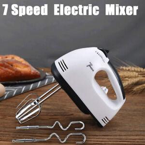 Electric White Whisk 7 Speed Hand Mixer Kitchen Egg Beater Cream Cake Blender UK