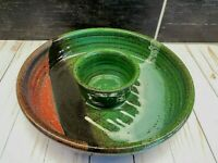Vtg Drip Glaze Pottery MCM Chip Dip Bowl Appitizer Serving One Piece Signed
