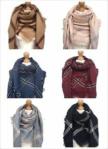 New Women Oversize Warm  Scarf Plaid Check Shawl Wrap Square Blanket Scarf Hijab