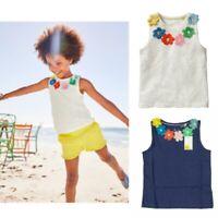 New Ex Mini Boden Girls' Flower Power Vest Tops In White, Blue Colour Now £7.99