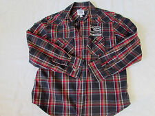 Paper Denim & Cloth Boys Long Sleeve Button Up Plaid Distressed Patches 10/12