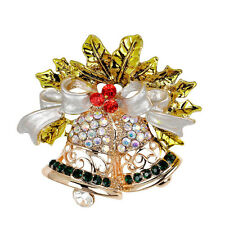 Christmas Bell Brooch Pin W Swarovski Crystal Xmas Gift Clothing Decoration MW