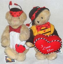 "Vermont Teddy Bear 13"" Jointed Plush Valentines Day Love Hearts Love Bug Couple"