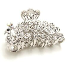 New White Silver Color Crystal High Quality Metal peacock hair claws clips
