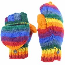 Wool Gloves Shooters Mittens Fleece Lined RAINBOW Knit Nepal Handmade