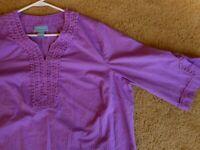 Liz & Me Lilac Purple Long Blouse 1X 18/20 Plus Size Womens Cotton #3/4 sleeve