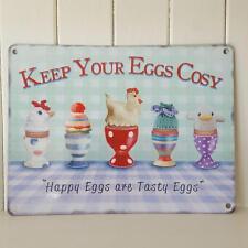 Mantenga sus huevos acogedor Shabby Chic Placa de Cocina Retro De Metal N