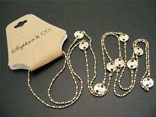 "$16 Stephan & Co Sand Dollar Ball Link Rhinestone Station Necklace 40"" Goldtone"