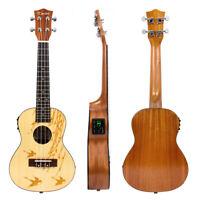 Electric Ukulele Concert Solid Spruce Electro Acoustic Ukelele Uke 23 Inch Kmise