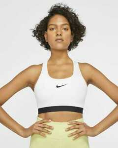 Nike Women's Swoosh Sports Bra Medium Support White Size L BV3902 100