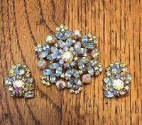 VINTAGE CROWN TRIFARI  Blue Aurora Borealis GLASS RHINESTONE BROOCH & EARRINGS