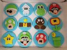 100% Edible Handmade Mario Luigi Yoshi style cupcake toppers x 12