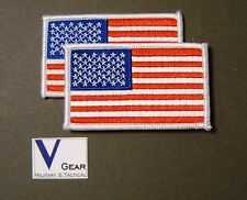 US USA American Flag Patch WHITE Border **LOT of 2**