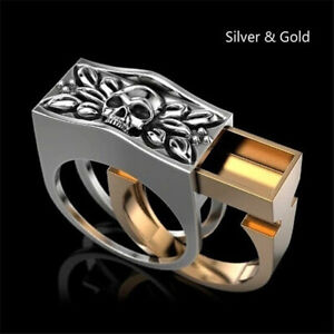 18k Gold Punk Ring Hip Hop Jewelry Skull Rings for Men Anniversary Gift Size 13