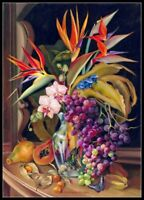 Bird of Paradise, Orchids and Fruits - Chart Counted Cross Stitch Pattern Craft