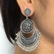 Oxidized Silver Jewellery Stylish Party Wear Drop Earrings for Women- CFE0654
