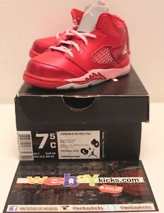 Air Jordan V 5 Valentine's Day Red Pink Sneakers Toddler's GP Girl Size 7.5C New