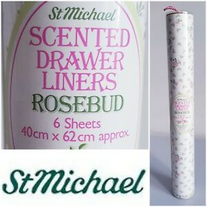 Vintage St Michael Scented Drawer Liners Rosebud 6 Sheets 40cm x 62cm Boxed Gift