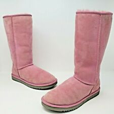 Uggs Australia Womens Classic Tall Pink Suede Winter Boots Size US 8