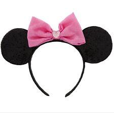Disney Store Pink Sparkle Minnie Mouse Costume Ears Headband Satin & Velour