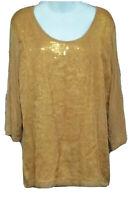 BADGLEY MISCHKA American Glamour Women's Semi Shear 3/4 Sleeve Sequin Blouse XL
