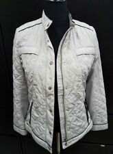Chicos Gray Quilted Jacket with Black Trim Zip Up & Buttons Sz 1 Worn 1x