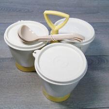 VTG TUPPERWARE condimenti FURGONCINO Set Mandorla color oro contenitori ciotole