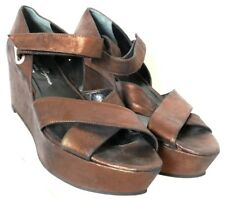 Robert Clergerie Paris Metallic Brown Open Toe Ankle Strap Wedge Women's US 10B