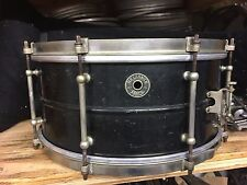 1930's Leedy 6.5x14 Brass 8 Tube Lug Snare Drum- Black Beauty Reliance