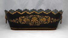 Vintage French Metal Tole Ware Planter Gold Quiver Arrow Decoration Dark Green